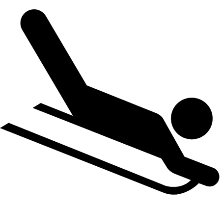drawing of someone on a sled